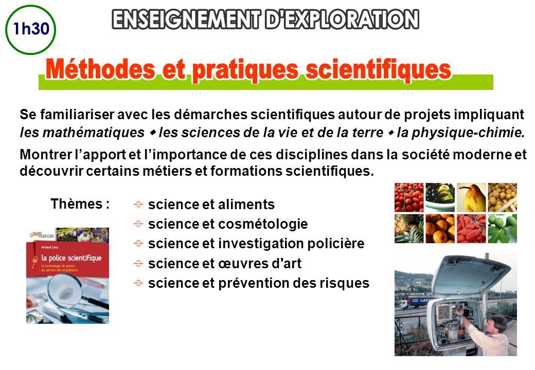 Se familiariser avec les démarches scientifiques autour de projets impliquant les mathématiques les sciences de la vie et de la terre la physique-chim
