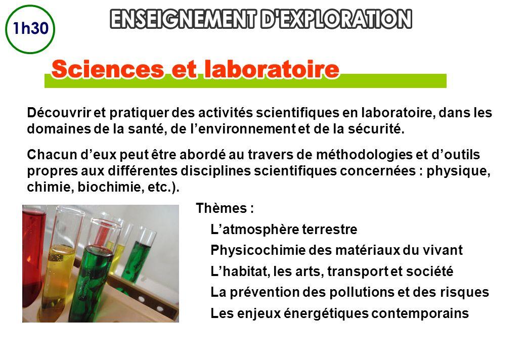 Découvrir et pratiquer des activités scientifiques en laboratoire, dans les domaines de la santé, de lenvironnement et de la sécurité. Chacun deux peu