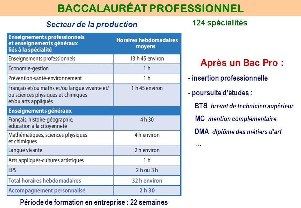 124 spécialités BACCALAURÉAT PROFESSIONNEL Secteur de la production Période de formation en entreprise : 22 semaines Après un Bac Pro : - insertion pr