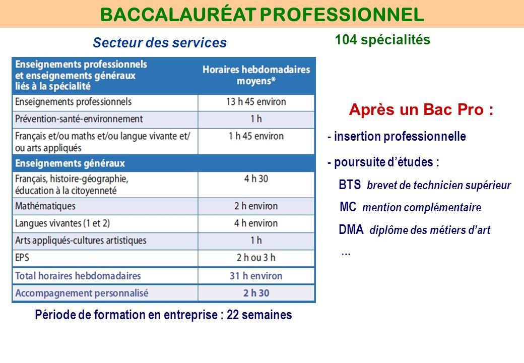 104 spécialités BACCALAURÉAT PROFESSIONNEL Secteur des services Après un Bac Pro : - insertion professionnelle - poursuite détudes : BTS brevet de tec