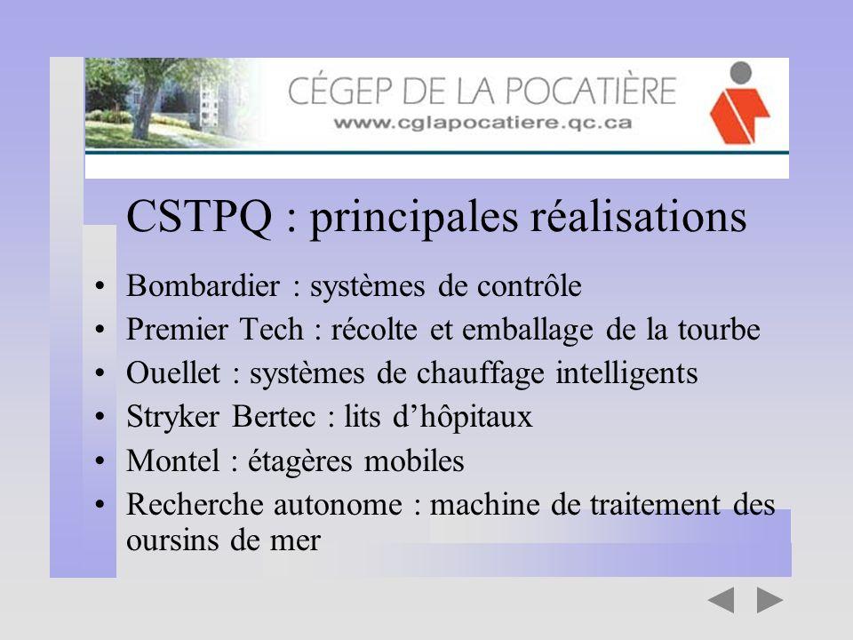 CSTPQ : principales réalisations Bombardier : systèmes de contrôle Premier Tech : récolte et emballage de la tourbe Ouellet : systèmes de chauffage in