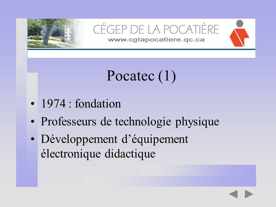 Pocatec (1) 1974 : fondation Professeurs de technologie physique Développement déquipement électronique didactique
