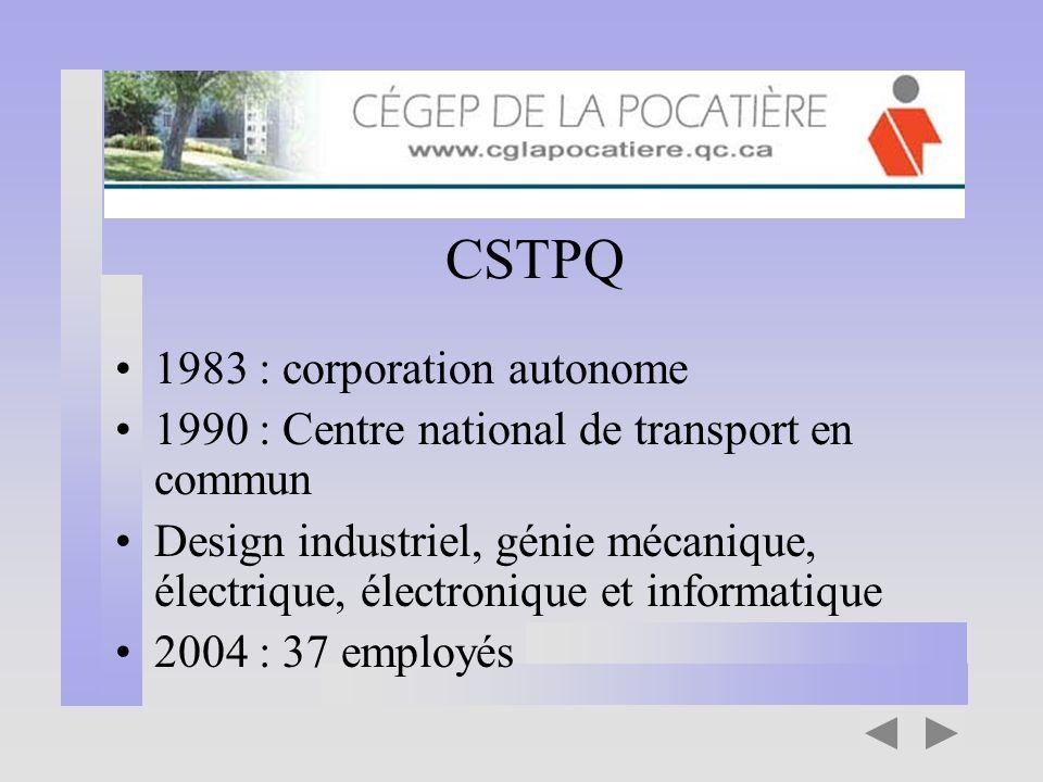 CSTPQ 1983 : corporation autonome 1990 : Centre national de transport en commun Design industriel, génie mécanique, électrique, électronique et inform