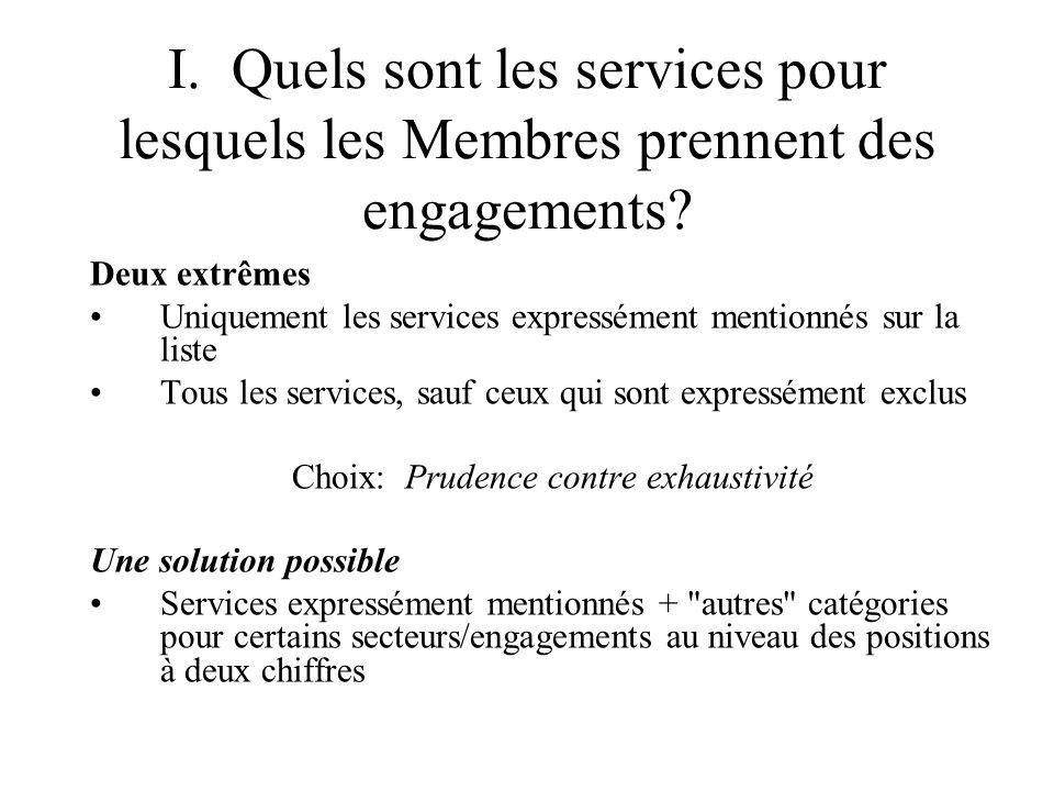 I. Quels sont les services pour lesquels les Membres prennent des engagements.