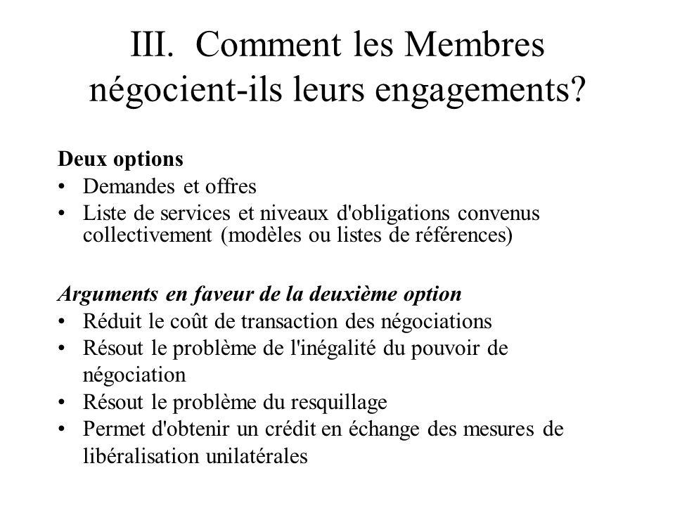 III. Comment les Membres négocient-ils leurs engagements.