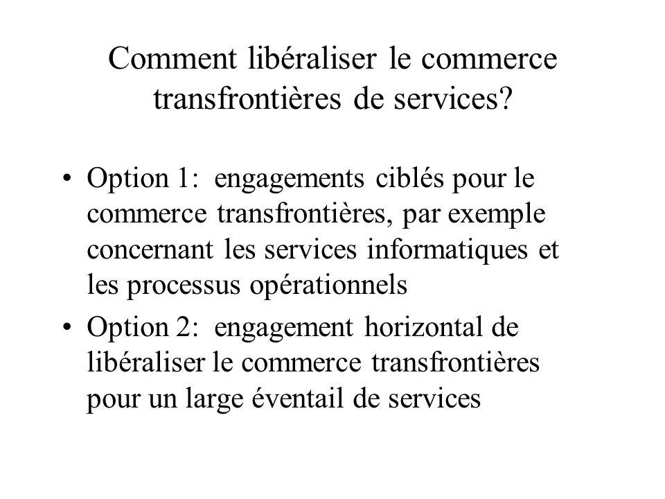 Comment libéraliser le commerce transfrontières de services.