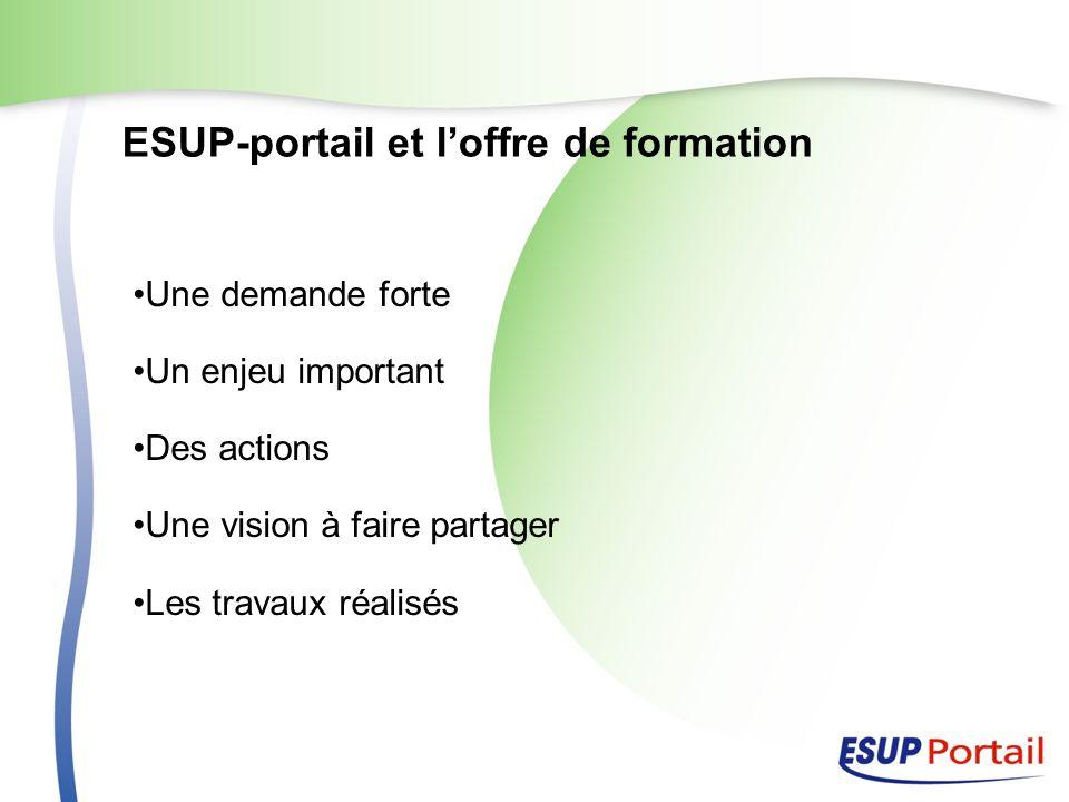 ESUP-portail et loffre de formation Une demande forte Un enjeu important Des actions Une vision à faire partager Les travaux réalisés