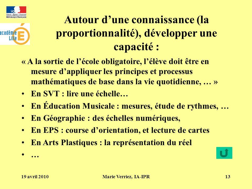 19 avril 2010Marie Verriez, IA-IPR13 Autour dune connaissance (la proportionnalité), développer une capacité : « A la sortie de lécole obligatoire, lé