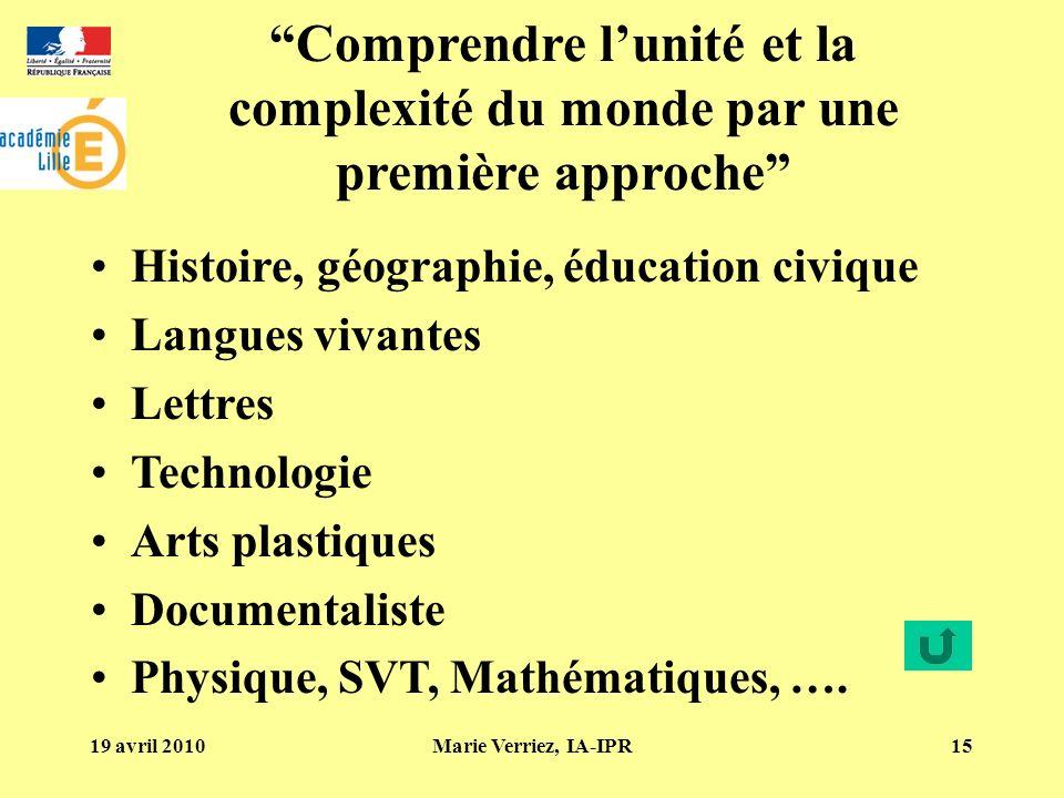 19 avril 2010Marie Verriez, IA-IPR15 Comprendre lunité et la complexité du monde par une première approche Histoire, géographie, éducation civique Lan