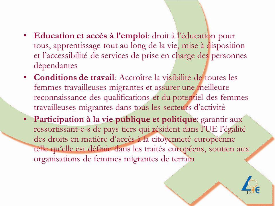 12 Education et accès à lemploi: droit à léducation pour tous, apprentissage tout au long de la vie, mise à disposition et laccessibilité de services de prise en charge des personnes dépendantes Conditions de travail: Accroître la visibilité de toutes les femmes travailleuses migrantes et assurer une meilleure reconnaissance des qualifications et du potentiel des femmes travailleuses migrantes dans tous les secteurs dactivité Participation à la vie publique et politique: garantir aux ressortissant-e-s de pays tiers qui résident dans lUE légalité des droits en matière daccès à la citoyenneté européenne telle quelle est définie dans les traités européens, soutien aux organisations de femmes migrantes de terrain