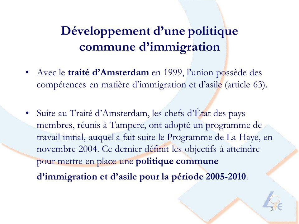 2 Développement dune politique commune dimmigration Avec le traité dAmsterdam en 1999, lunion possède des compétences en matière dimmigration et dasile (article 63).