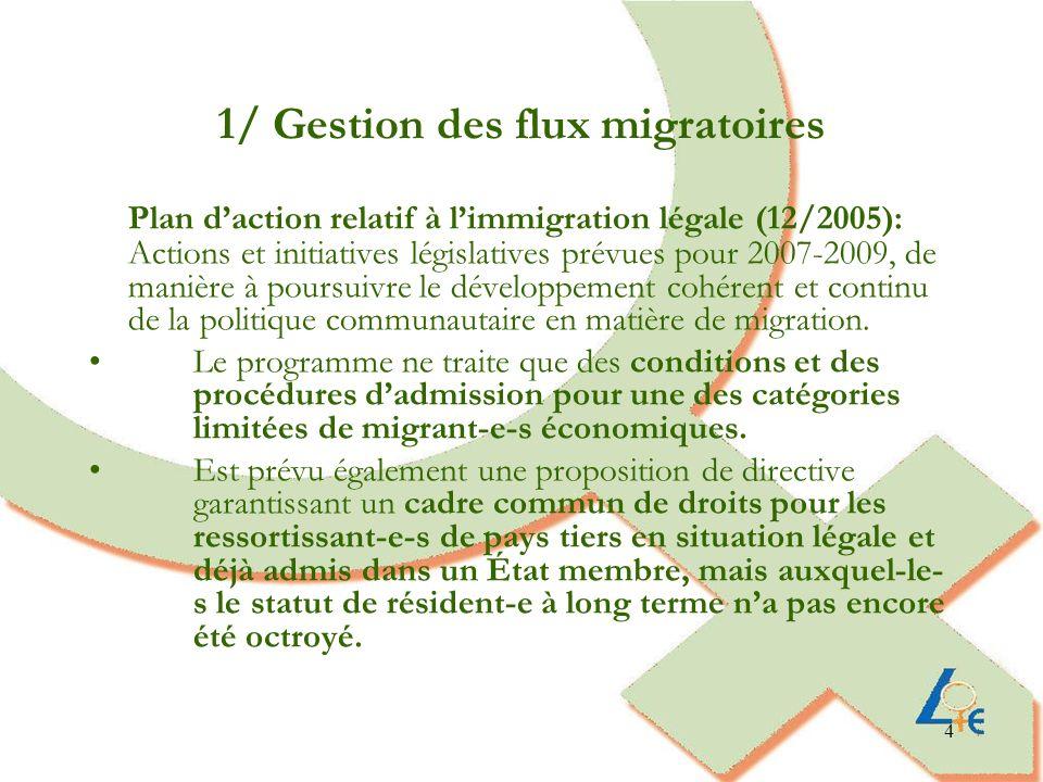 4 1/ Gestion des flux migratoires Plan daction relatif à limmigration légale (12/2005): Actions et initiatives législatives prévues pour 2007-2009, de manière à poursuivre le développement cohérent et continu de la politique communautaire en matière de migration.