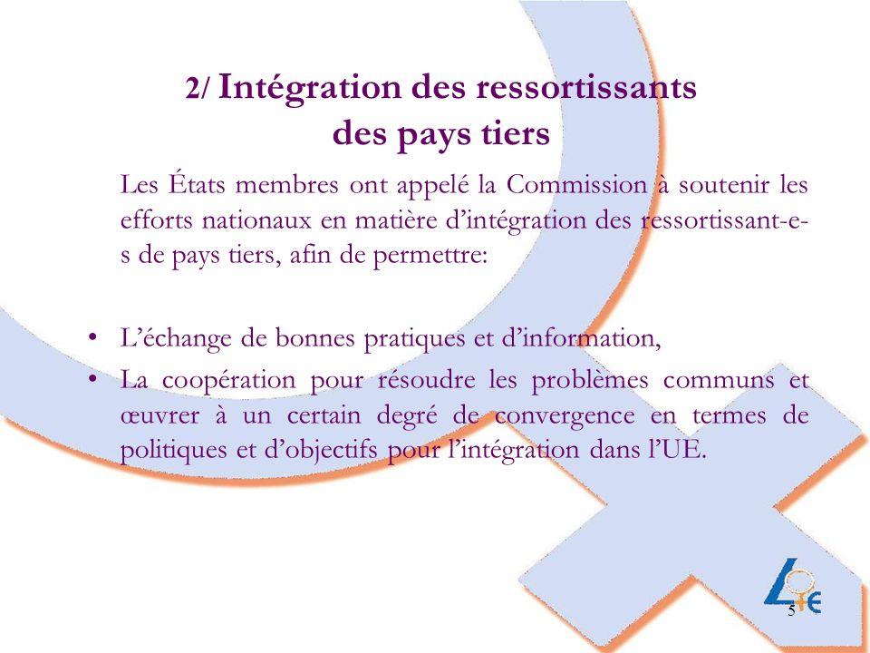 5 2/ Intégration des ressortissants des pays tiers Les États membres ont appelé la Commission à soutenir les efforts nationaux en matière dintégration des ressortissant-e- s de pays tiers, afin de permettre: Léchange de bonnes pratiques et dinformation, La coopération pour résoudre les problèmes communs et œuvrer à un certain degré de convergence en termes de politiques et dobjectifs pour lintégration dans lUE.