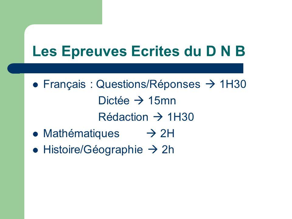 Les Epreuves Ecrites du D N B Français : Questions/Réponses 1H30 Dictée 15mn Rédaction 1H30 Mathématiques 2H Histoire/Géographie 2h