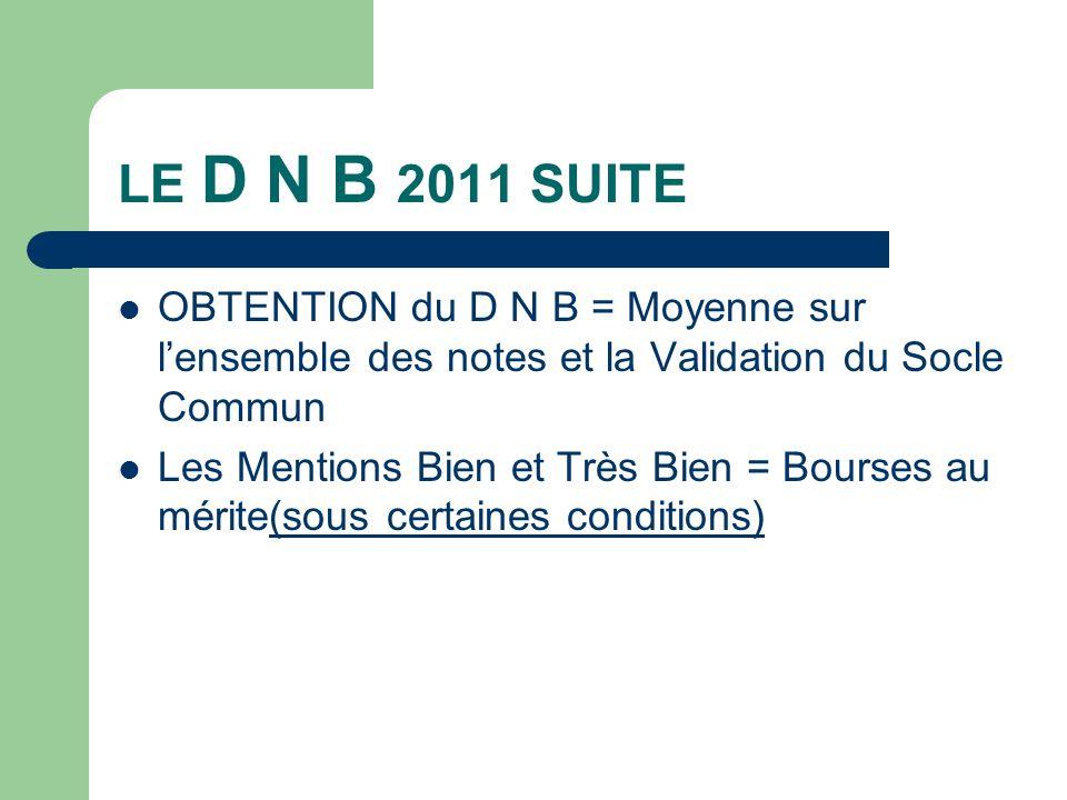 LE D N B 2011 SUITE OBTENTION du D N B = Moyenne sur lensemble des notes et la Validation du Socle Commun Les Mentions Bien et Très Bien = Bourses au mérite(sous certaines conditions)