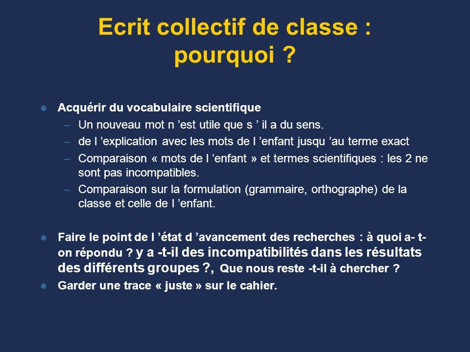 L écrit collectif de classe : comment ? Par exemple : un premier bilan, une conclusion provisoire est écrite par les enfants dans leur partie individu