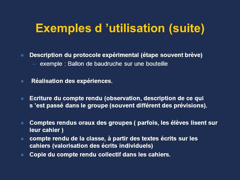 Exemples d utilisation Question : y a -t- il de l air dans dans la classe (CE1) ? Avant de manipuler, discussion puis écriture. –Exemples d hypothèses