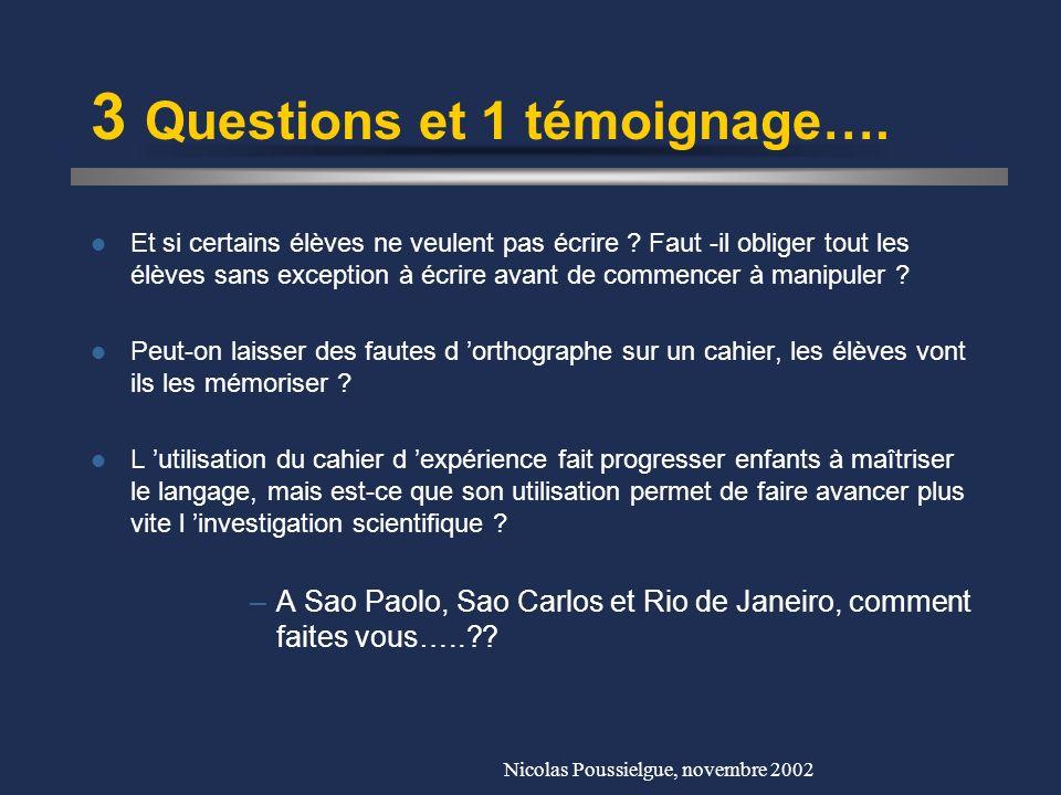 Nicolas Poussielgue, novembre 2002 Ce qu en pensent les élèves…. Au début : –« Je ne sais pas écrire » -> Peur de se tromper –« Est-on obligé d écrire