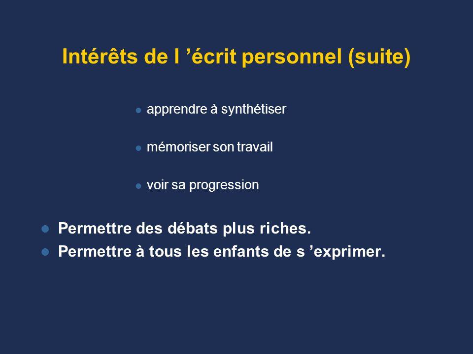 Intérêt de l écrit personnel –Rentrer dans la problématique –interroger ses conceptions initiales –Retracer la chronologie (on la perd souvent…) –Gard