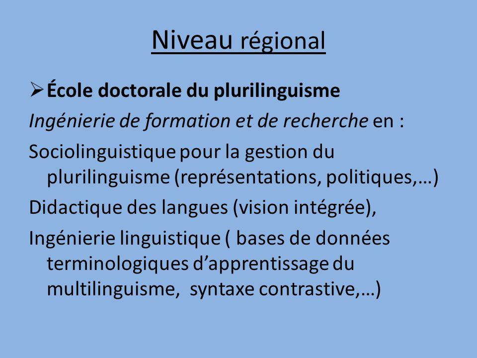 Niveau régional École doctorale du plurilinguisme Ingénierie de formation et de recherche en : Sociolinguistique pour la gestion du plurilinguisme (re