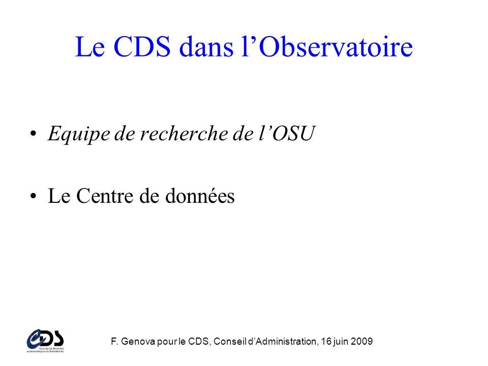 F. Genova pour le CDS, Conseil dAdministration, 16 juin 2009 Le CDS dans lObservatoire Equipe de recherche de lOSU Le Centre de données