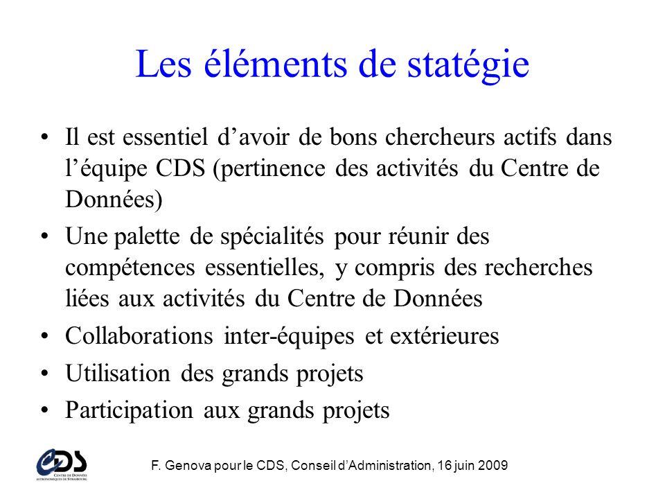 F. Genova pour le CDS, Conseil dAdministration, 16 juin 2009 Les éléments de statégie Il est essentiel davoir de bons chercheurs actifs dans léquipe C