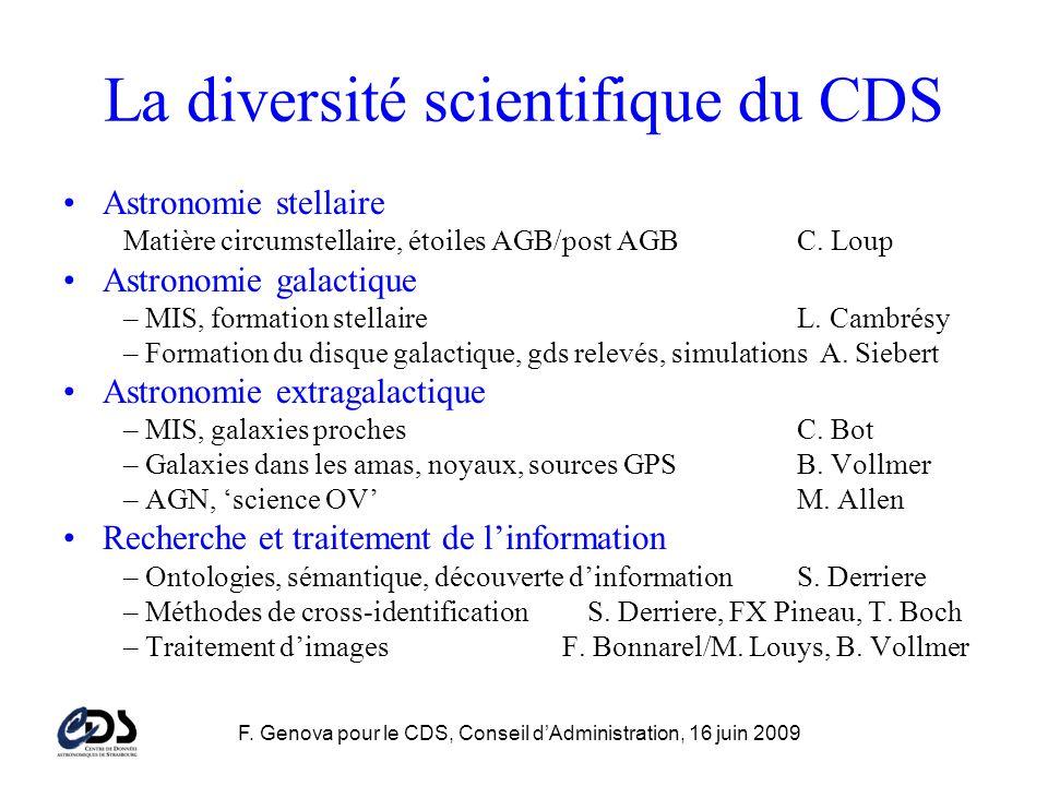 F. Genova pour le CDS, Conseil dAdministration, 16 juin 2009 La diversité scientifique du CDS Astronomie stellaire Matière circumstellaire, étoiles AG