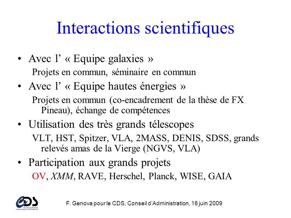 F. Genova pour le CDS, Conseil dAdministration, 16 juin 2009 Interactions scientifiques Avec l « Equipe galaxies » Projets en commun, séminaire en com
