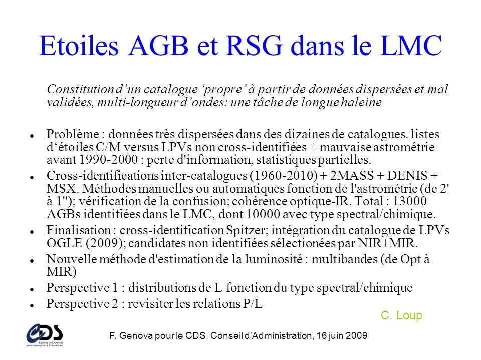 F. Genova pour le CDS, Conseil dAdministration, 16 juin 2009 Etoiles AGB et RSG dans le LMC Constitution dun catalogue propre à partir de données disp