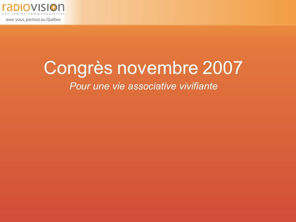 Congrès novembre 2007 Pour une vie associative vivifiante