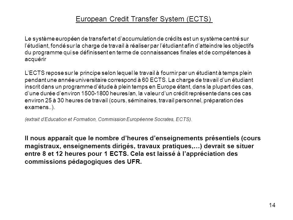 14 Le système européen de transfert et daccumulation de crédits est un système centré sur létudiant, fondé sur la charge de travail à réaliser par lét