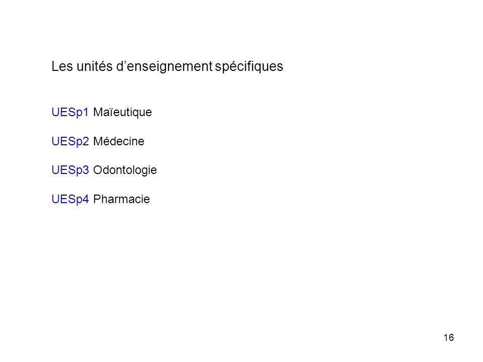 16 Les unités denseignement spécifiques UESp1 Maïeutique UESp2 Médecine UESp3 Odontologie UESp4 Pharmacie