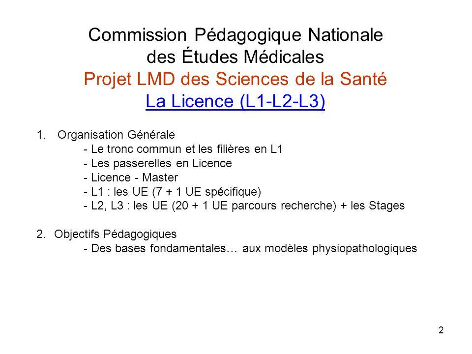 2 Commission Pédagogique Nationale des Études Médicales Projet LMD des Sciences de la Santé La Licence (L1-L2-L3) 1. Organisation Générale - Le tronc