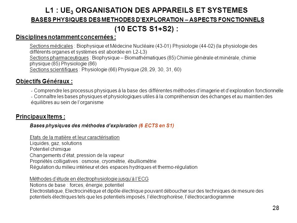 28 L1 : UE 3 ORGANISATION DES APPAREILS ET SYSTEMES BASES PHYSIQUES DES METHODES DEXPLORATION – ASPECTS FONCTIONNELS (10 ECTS S1+S2) : Disciplines notamment concernées : Sections médicales : Biophysique et Médecine Nucléaire (43-01) Physiologie (44-02) (la physiologie des différents organes et systèmes est abordée en L2-L3) Sections pharmaceutiques : Biophysique – Biomathématiques (85) Chimie générale et minérale, chimie physique (85) Physiologie (86) Sections scientifiques : Physiologie (66) Physique (28, 29, 30, 31, 60) Objectifs Généraux : - Comprendre les processus physiques à la base des différentes méthodes dimagerie et dexploration fonctionnelle - Connaître les bases physiques et physiologiques utiles à la compréhension des échanges et au maintien des équilibres au sein de lorganisme Principaux Items : Bases physiques des méthodes dexploration (6 ECTS en S1) Etats de la matière et leur caractérisation Liquides, gaz, solutions Potentiel chimique Changements détat, pression de la vapeur Propriétés colligatives : osmose, cryométrie, ébulliométrie Régulation du milieu intérieur et des espaces hydriques et thermo-régulation Méthodes détude en électrophysiologie jusquà lECG Notions de base : forces, énergie, potentiel Electrostatique, Electrocinétique et dipôle électrique pouvant déboucher sur des techniques de mesure des potentiels électriques tels que les potentiels imposés, lélectrophorèse, lélectrocardiogramme