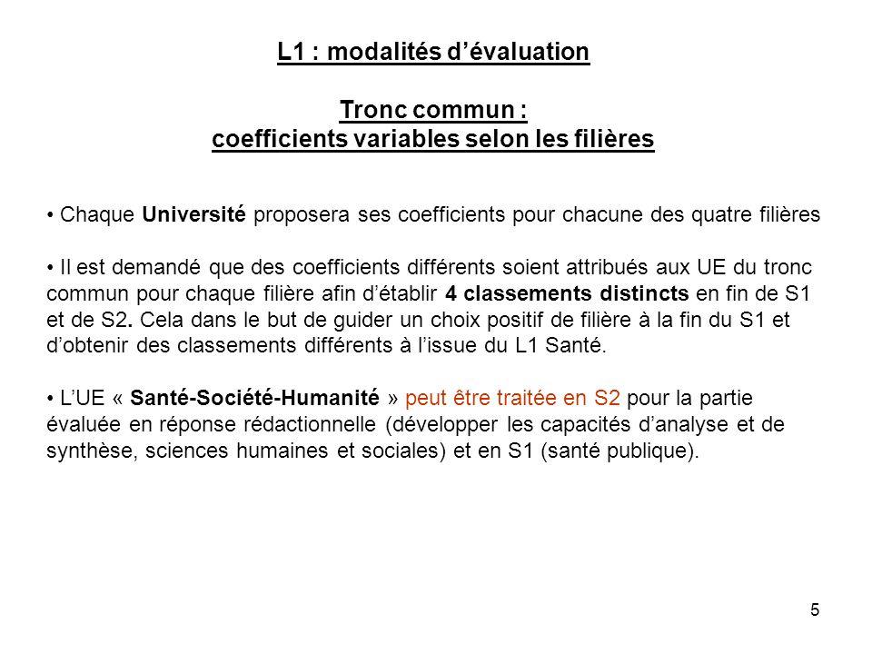 5 L1 : modalités dévaluation Tronc commun : coefficients variables selon les filières Chaque Université proposera ses coefficients pour chacune des qu