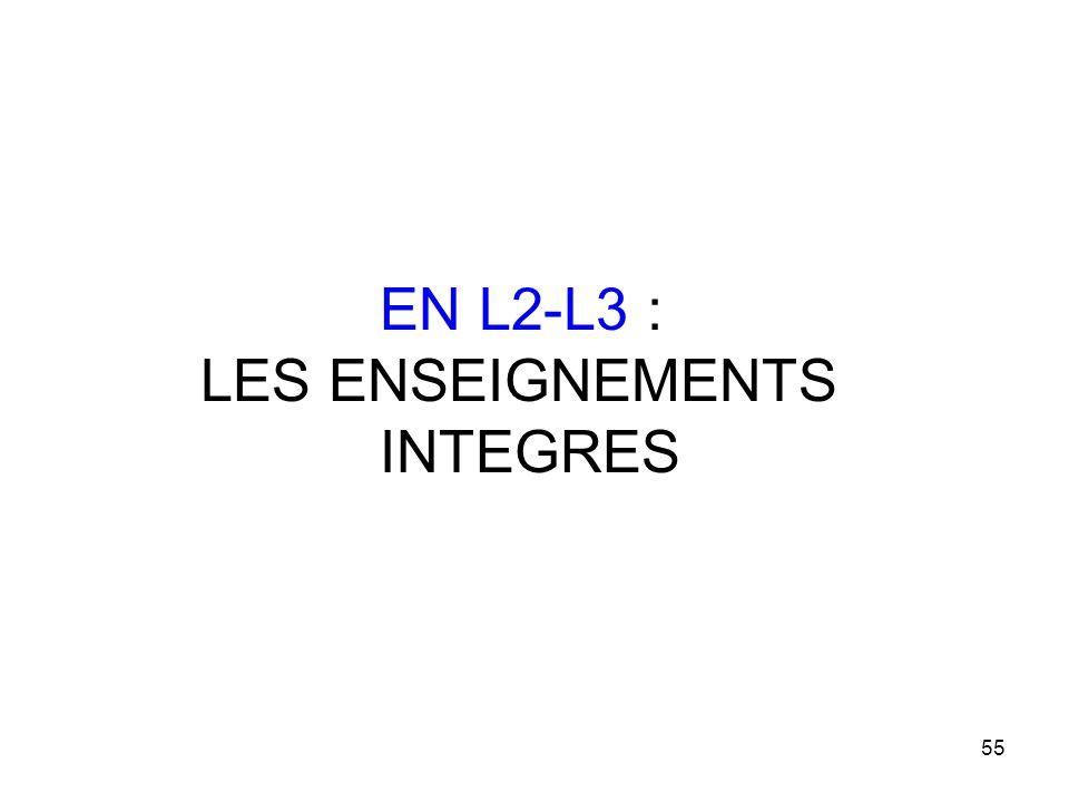 55 EN L2-L3 : LES ENSEIGNEMENTS INTEGRES