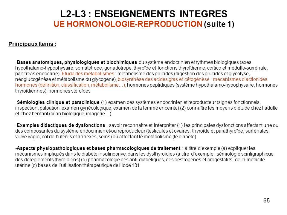 65 L2-L3 : ENSEIGNEMENTS INTEGRES UE HORMONOLOGIE-REPRODUCTION (suite 1) Principaux Items : -Bases anatomiques, physiologiques et biochimiques du syst