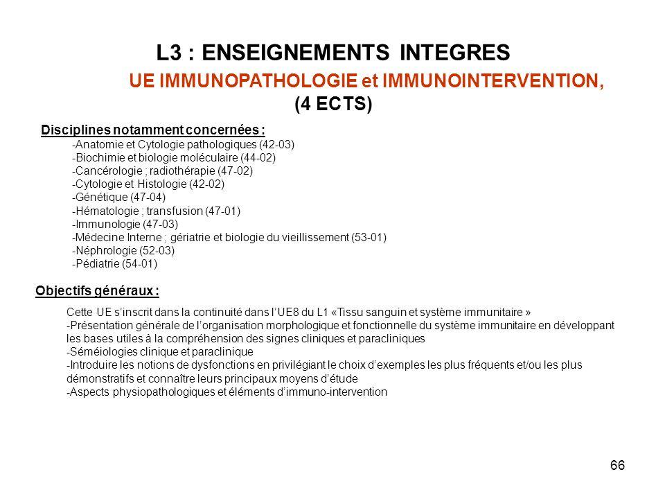 66 L3 : ENSEIGNEMENTS INTEGRES UE IMMUNOPATHOLOGIE et IMMUNOINTERVENTION, (4 ECTS) Objectifs généraux : Cette UE sinscrit dans la continuité dans lUE8 du L1 «Tissu sanguin et système immunitaire » -Présentation générale de lorganisation morphologique et fonctionnelle du système immunitaire en développant les bases utiles à la compréhension des signes cliniques et paracliniques -Séméiologies clinique et paraclinique -Introduire les notions de dysfonctions en privilégiant le choix dexemples les plus fréquents et/ou les plus démonstratifs et connaître leurs principaux moyens détude -Aspects physiopathologiques et éléments dimmuno-intervention Disciplines notamment concernées : -Anatomie et Cytologie pathologiques (42-03) -Biochimie et biologie moléculaire (44-02) -Cancérologie ; radiothérapie (47-02) -Cytologie et Histologie (42-02) -Génétique (47-04) -Hématologie ; transfusion (47-01) -Immunologie (47-03) -Médecine Interne ; gériatrie et biologie du vieillissement (53-01) -Néphrologie (52-03) -Pédiatrie (54-01)