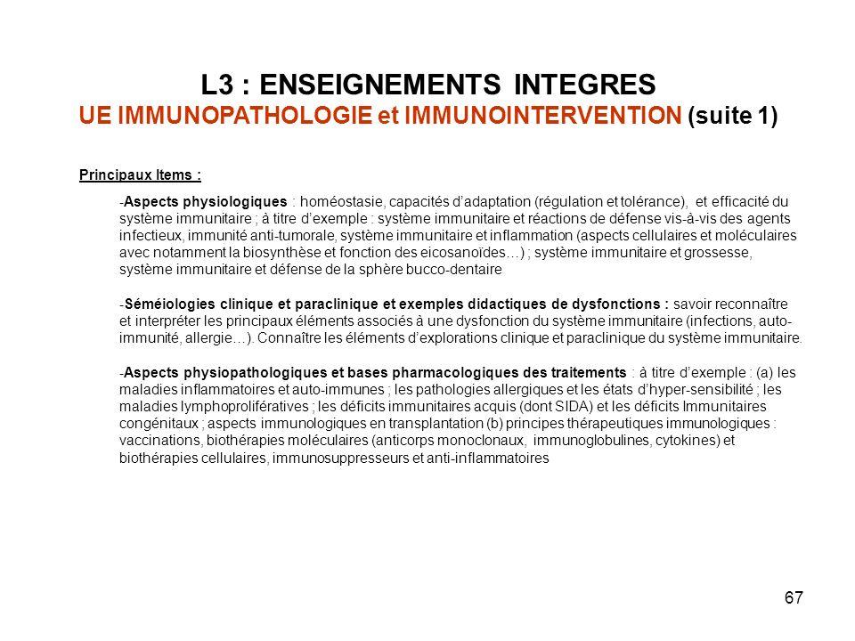 67 Principaux Items : -Aspects physiologiques : homéostasie, capacités dadaptation (régulation et tolérance), et efficacité du système immunitaire ; à titre dexemple : système immunitaire et réactions de défense vis-à-vis des agents infectieux, immunité anti-tumorale, système immunitaire et inflammation (aspects cellulaires et moléculaires avec notamment la biosynthèse et fonction des eicosanoïdes…) ; système immunitaire et grossesse, système immunitaire et défense de la sphère bucco-dentaire -Séméiologies clinique et paraclinique et exemples didactiques de dysfonctions : savoir reconnaître et interpréter les principaux éléments associés à une dysfonction du système immunitaire (infections, auto- immunité, allergie…).