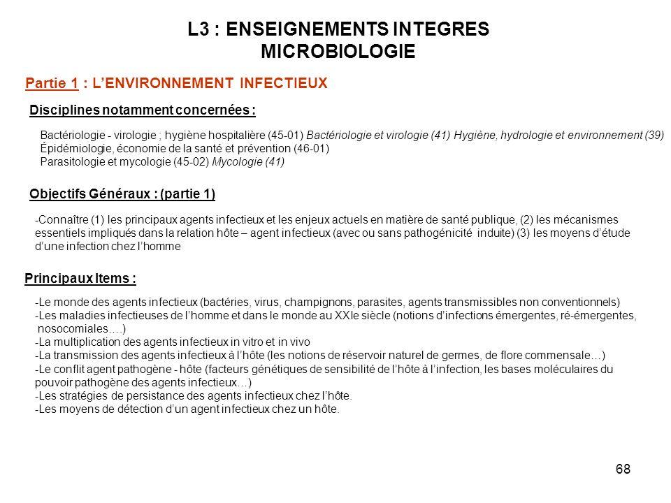 68 L3 : ENSEIGNEMENTS INTEGRES MICROBIOLOGIE Disciplines notamment concernées : Bactériologie - virologie ; hygiène hospitalière (45-01) Bactériologie et virologie (41) Hygiène, hydrologie et environnement (39) Épidémiologie, économie de la santé et prévention (46-01) Parasitologie et mycologie (45-02) Mycologie (41) Objectifs Généraux : (partie 1) -Connaître (1) les principaux agents infectieux et les enjeux actuels en matière de santé publique, (2) les mécanismes essentiels impliqués dans la relation hôte – agent infectieux (avec ou sans pathogénicité induite) (3) les moyens détude dune infection chez lhomme Principaux Items : -Le monde des agents infectieux (bactéries, virus, champignons, parasites, agents transmissibles non conventionnels) -Les maladies infectieuses de lhomme et dans le monde au XXIe siècle (notions dinfections émergentes, ré-émergentes, nosocomiales….) -La multiplication des agents infectieux in vitro et in vivo -La transmission des agents infectieux à lhôte (les notions de réservoir naturel de germes, de flore commensale…) -Le conflit agent pathogène - hôte (facteurs génétiques de sensibilité de lhôte à linfection, les bases moléculaires du pouvoir pathogène des agents infectieux…) -Les stratégies de persistance des agents infectieux chez lhôte.