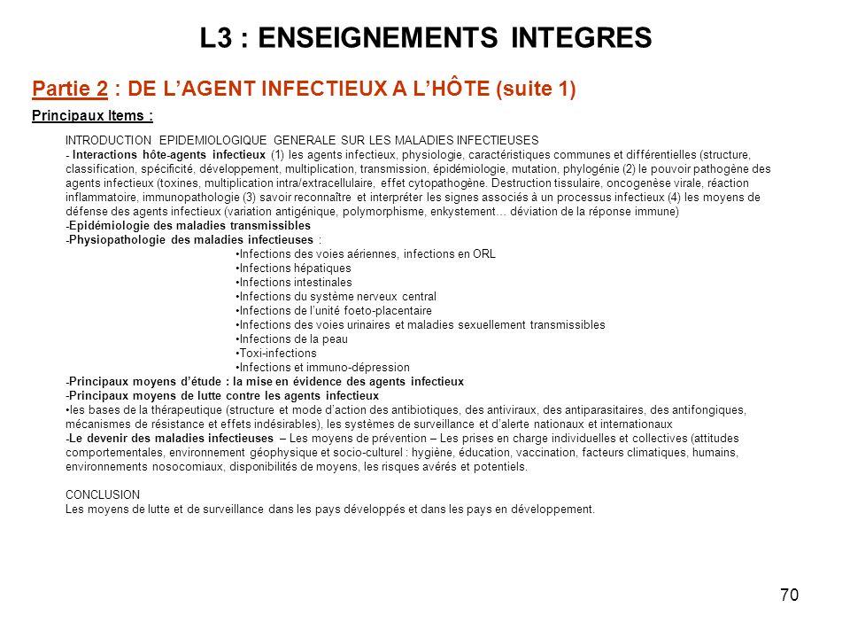 70 L3 : ENSEIGNEMENTS INTEGRES Principaux Items : INTRODUCTION EPIDEMIOLOGIQUE GENERALE SUR LES MALADIES INFECTIEUSES - Interactions hôte-agents infectieux (1) les agents infectieux, physiologie, caractéristiques communes et différentielles (structure, classification, spécificité, développement, multiplication, transmission, épidémiologie, mutation, phylogénie (2) le pouvoir pathogène des agents infectieux (toxines, multiplication intra/extracellulaire, effet cytopathogène.