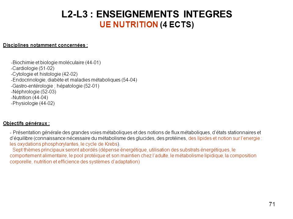 71 L2-L3 : ENSEIGNEMENTS INTEGRES UE NUTRITION (4 ECTS) Objectifs généraux : - Présentation générale des grandes voies métaboliques et des notions de flux métaboliques, détats stationnaires et déquilibre (connaissance nécessaire du métabolisme des glucides, des protéines, des lipides et notion sur lenergie : les oxydations phosphorylantes, le cycle de Krebs).