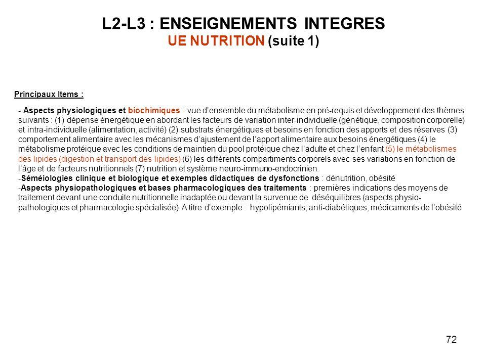72 L2-L3 : ENSEIGNEMENTS INTEGRES UE NUTRITION (suite 1) Principaux Items : - Aspects physiologiques et biochimiques : vue densemble du métabolisme en pré-requis et développement des thèmes suivants : (1) dépense énergétique en abordant les facteurs de variation inter-individuelle (génétique, composition corporelle) et intra-individuelle (alimentation, activité) (2) substrats énergétiques et besoins en fonction des apports et des réserves (3) comportement alimentaire avec les mécanismes dajustement de lapport alimentaire aux besoins énergétiques (4) le métabolisme protéique avec les conditions de maintien du pool protéique chez ladulte et chez lenfant (5) le métabolismes des lipides (digestion et transport des lipides) (6) les différents compartiments corporels avec ses variations en fonction de lâge et de facteurs nutritionnels (7) nutrition et système neuro-immuno-endocrinien.