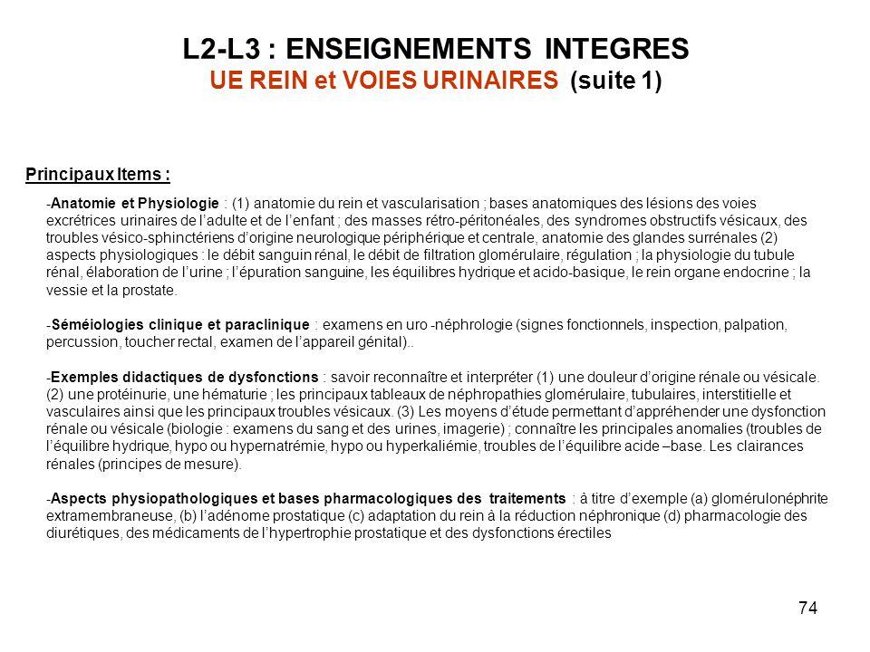 74 L2-L3 : ENSEIGNEMENTS INTEGRES UE REIN et VOIES URINAIRES (suite 1) Principaux Items : -Anatomie et Physiologie : (1) anatomie du rein et vascularisation ; bases anatomiques des lésions des voies excrétrices urinaires de ladulte et de lenfant ; des masses rétro-péritonéales, des syndromes obstructifs vésicaux, des troubles vésico-sphinctériens dorigine neurologique périphérique et centrale, anatomie des glandes surrénales (2) aspects physiologiques : le débit sanguin rénal, le débit de filtration glomérulaire, régulation ; la physiologie du tubule rénal, élaboration de lurine ; lépuration sanguine, les équilibres hydrique et acido-basique, le rein organe endocrine ; la vessie et la prostate.