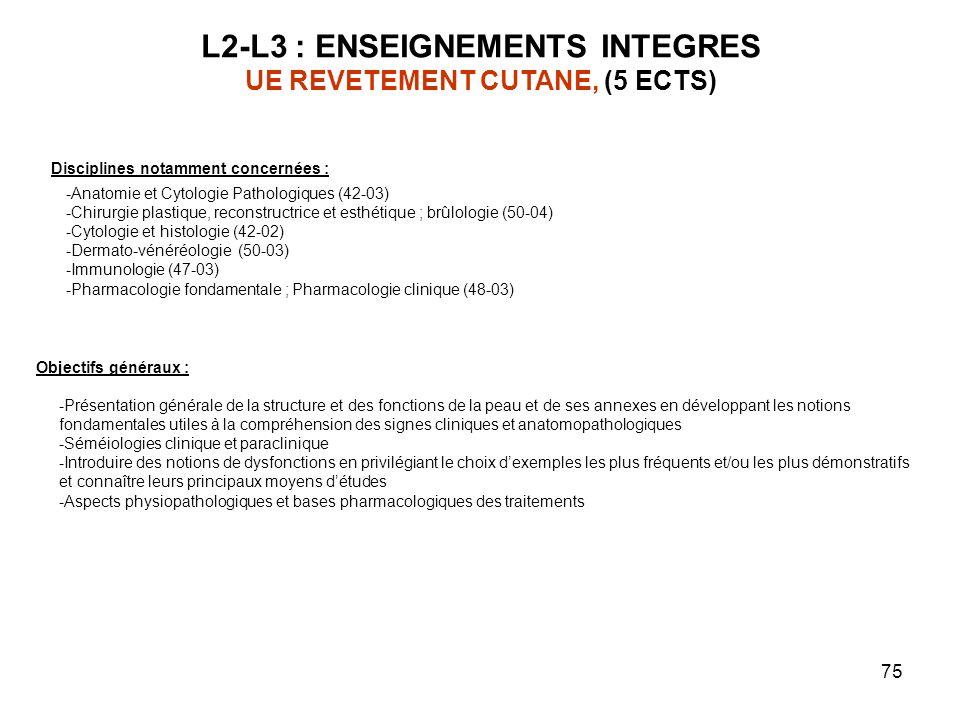 75 L2-L3 : ENSEIGNEMENTS INTEGRES UE REVETEMENT CUTANE, (5 ECTS) Objectifs généraux : -Présentation générale de la structure et des fonctions de la pe