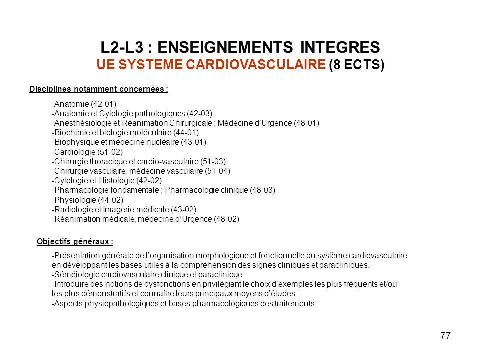 77 L2-L3 : ENSEIGNEMENTS INTEGRES UE SYSTEME CARDIOVASCULAIRE (8 ECTS) Objectifs généraux : -Présentation générale de lorganisation morphologique et fonctionnelle du système cardiovasculaire en développant les bases utiles à la compréhension des signes cliniques et paracliniques.