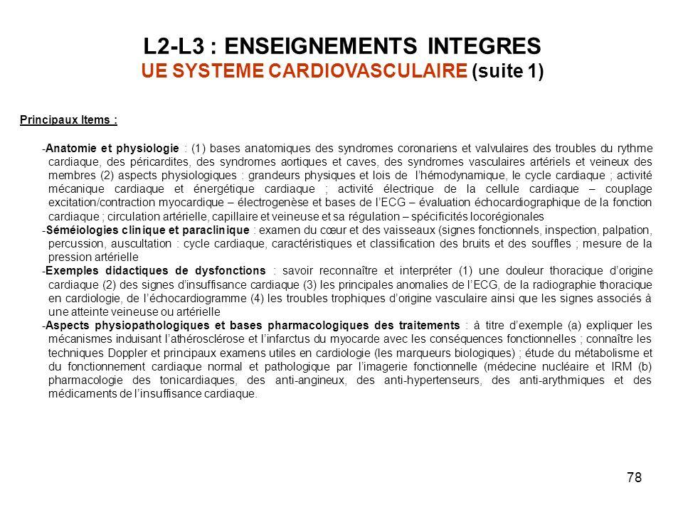 78 Principaux Items : -Anatomie et physiologie : (1) bases anatomiques des syndromes coronariens et valvulaires des troubles du rythme cardiaque, des