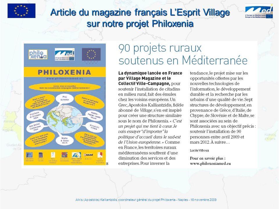 Article du magazine français LEsprit Village sur notre projet Philoxenia Alkis (Apostolos) Kalliantzidis, coordinateur général du projet Philoxenia -