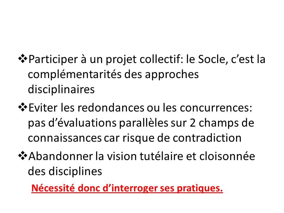 Participer à un projet collectif: le Socle, cest la complémentarités des approches disciplinaires Eviter les redondances ou les concurrences: pas déva
