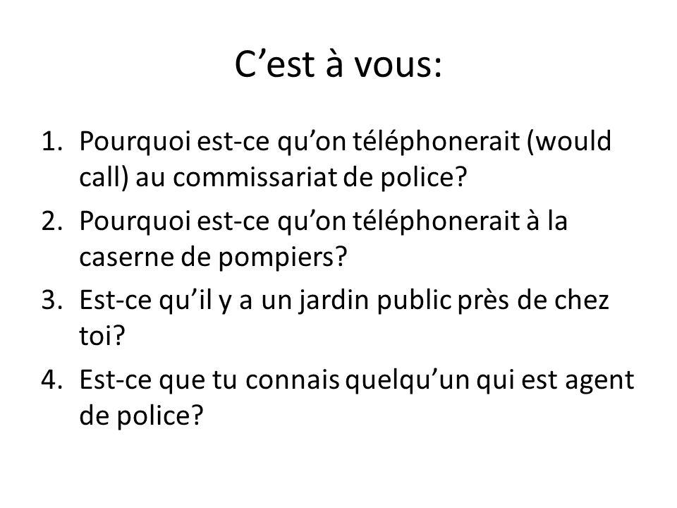 Cest à vous: 1.Pourquoi est-ce quon téléphonerait (would call) au commissariat de police.